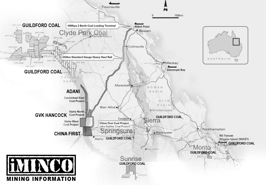 Galilee Basin mines map, GVK, Adani, China First Guildford Coal - iMINCO