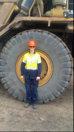 Brisbane dump truck course - student Samantha Cummings at Industry Pathways training centre Brisbane