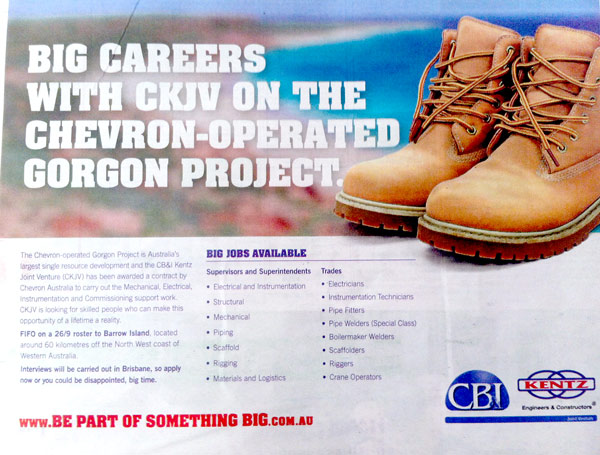 WA jobs on the Gorgon Project - CKJV CB & I and Kentz Joint Venture