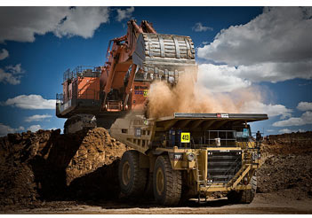 mining scene dump truck loaded excavator shovel iMINCO