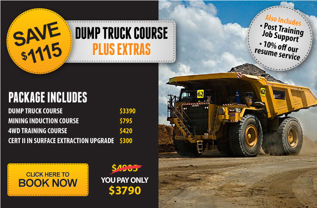 Dump truck course Brisbane. Haul truck driver training course. Dump truck course with free Standard 11 Generic Induction, Free 4WD course, Free upgrade to Cert II in Surface Extraction Operations, 10% off resume service and Post-Training Job Support