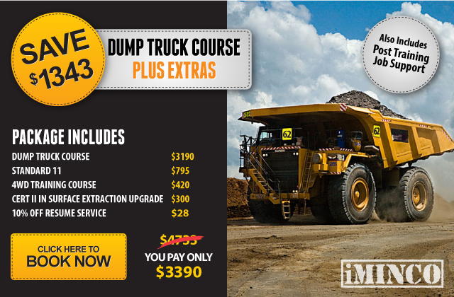 Dump truck course Brisbane. Haul truck driver training course. Dump truck course with free Standard 11 Generic Induction, Free 4WD course, Free upgrade to Cert II in Surface Extraction Operations, 10% off resume service and Pst-Training Job Support