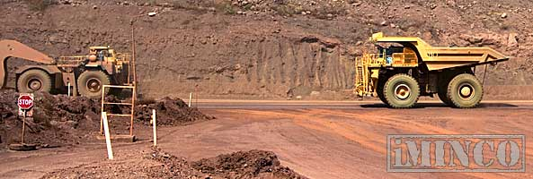 Dump truck iron ore mine site operations