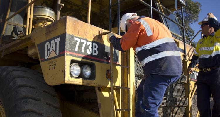 Mining Training Operator Ascending haul truck stairs
